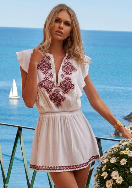 Melissa Odabash Immy Dress White/Red