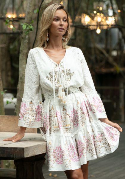 Dreamer Dress White/Pink