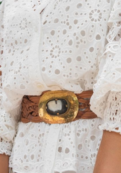 Braided Leather Belt Brown/Gold