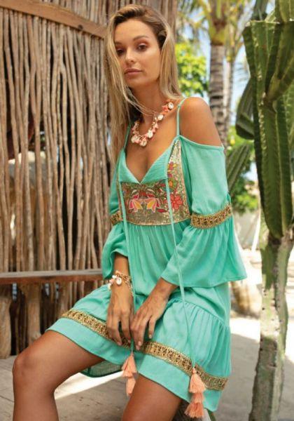 Miss June Shimmy Dress Aqua