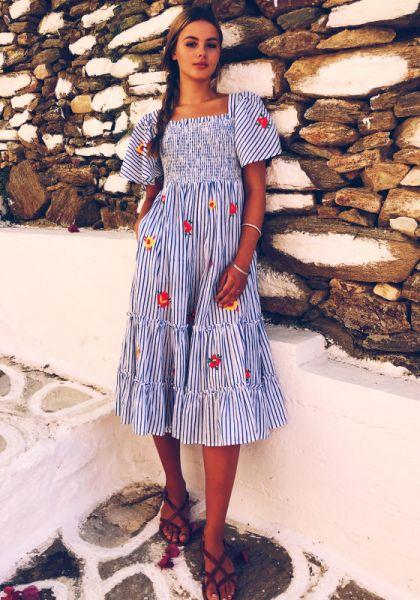 Pink City Prints Lolita Dress Embroidered Stripe