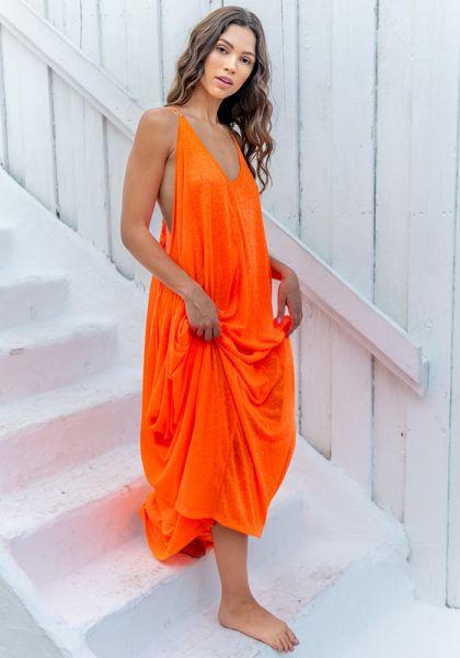 Cheetah Grecian Dress Neon Orange