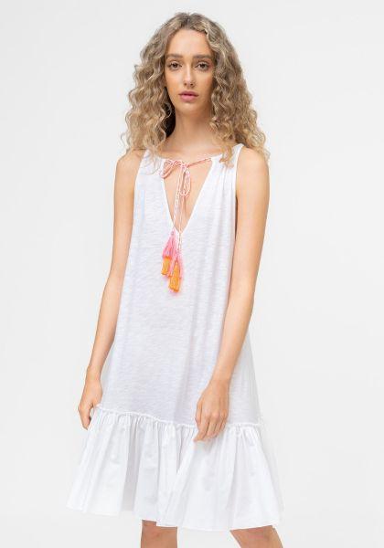 Pitusa Keyhole Tassle Tie Dress White
