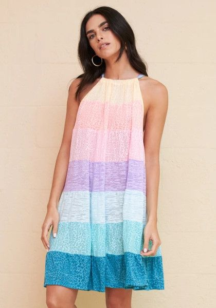 Pitusa Popsicle Halter Mini Dress Pastel