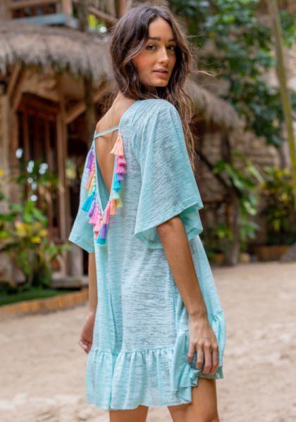 Pitusa Tassel Back Dress Aqua