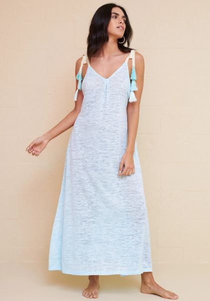 pitusa tassel tie dress aqua
