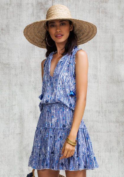 Poupette St Barth Clara Mini Dress Blue Fanciful