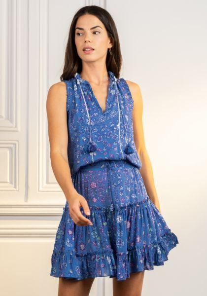 Poupette St Barth Clara Dress Blue Foulard