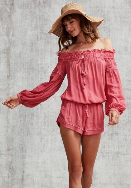 Poupette St Barth Short Clara Off Shoulder Jumpsuit Pink