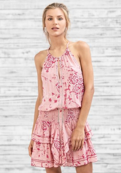 Poupette St Barth Elodie Mini Dress Pink Marble