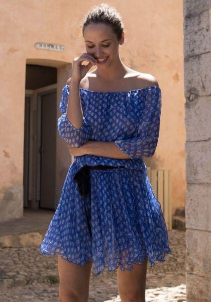 Poupette St Barth Joe Mini Dress blue vemizia