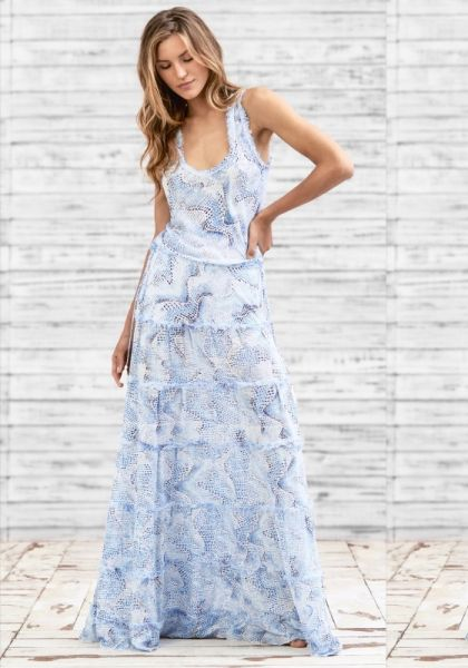Poupette St Barth Long Bety Dress Blue Wave