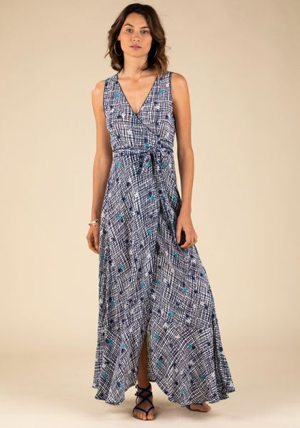 Poupette St Barth Long Bonnie Layered Dress Blue Maze
