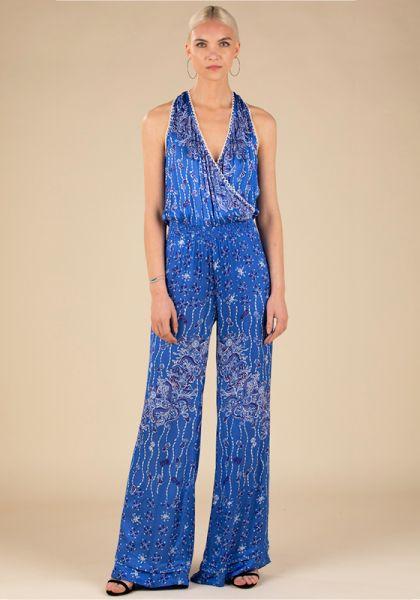 Poupette St Barth Jena Sleeveless Jumpsuit Blue Pineapple