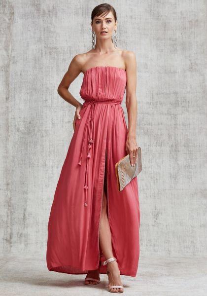 Poupette St Barth Strapless Mara Maxi Dress Pink