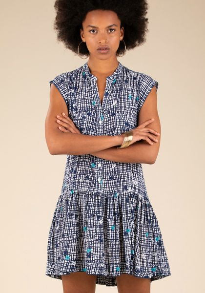 Poupette St Barth Mini Amora Dress Blue Maze