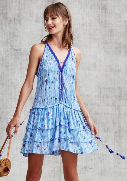 Poupette St Barth Mini Bety Ruffled Dress Light Blue Fanciful