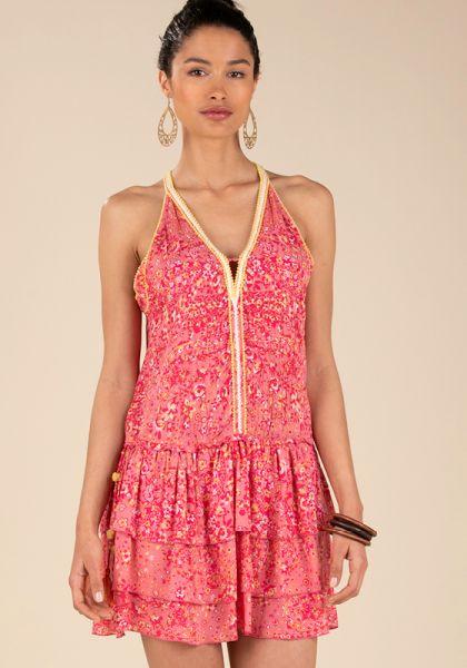 Poupette St Barth Mini Bety Ruffle Dress Pink Piasley