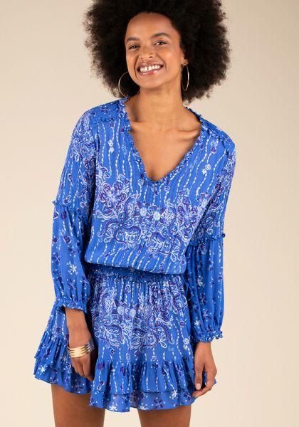 Poupette St Barth Mini Ilona Long Sleeve Dress Blue Pineapple