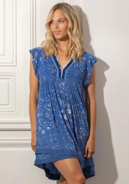 Poupette St Barth Sasha Lace Dress Blue Foulard