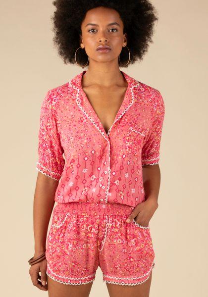 Poupette St Barth Short Jumpsuit Foe Lace Pink Paisley