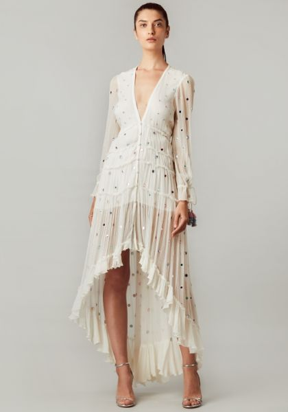 Rococo Sand Long Sleeve Off White Maxi Dress