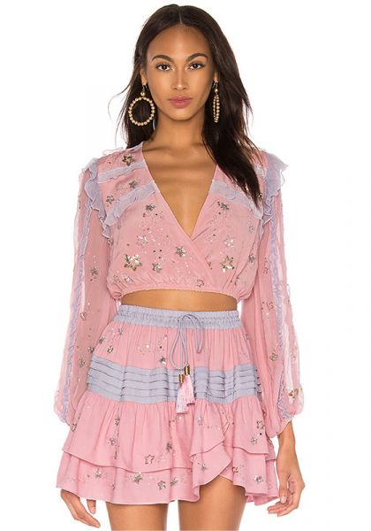 Rococo Sand Starlight Embroidered Crop Top