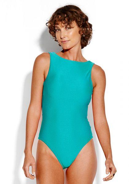 Seafolly La Luna High Neck Swimsuit Blue