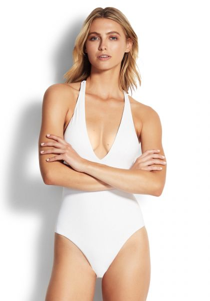 Seafolly Active V Plunge Swimsuit White
