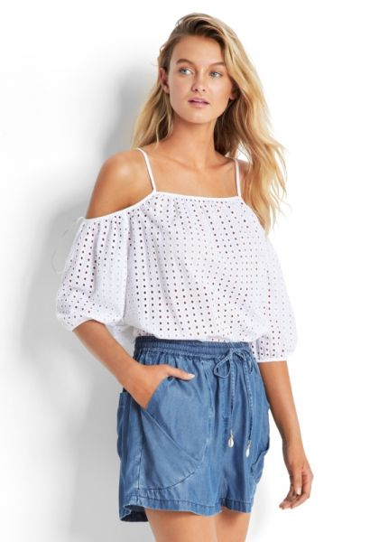 Seafolly Broderie Cold Shoulder Top