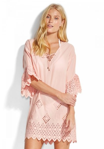 Seafolly Broderie Coverup Pink