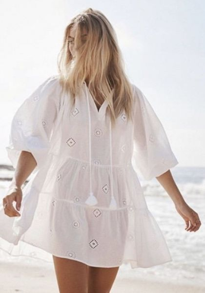 Seafolly embroidered Tiered Dress White
