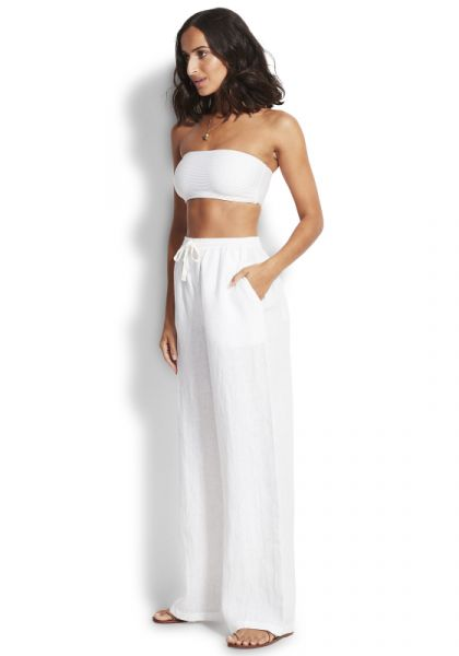 Seafolly Essential White Linen Pant