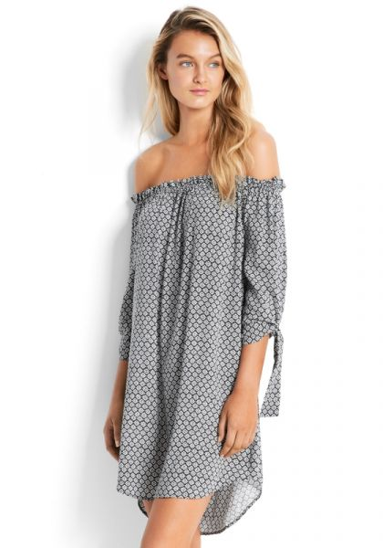 Seafolly Geo Print Off Shoulder Dress
