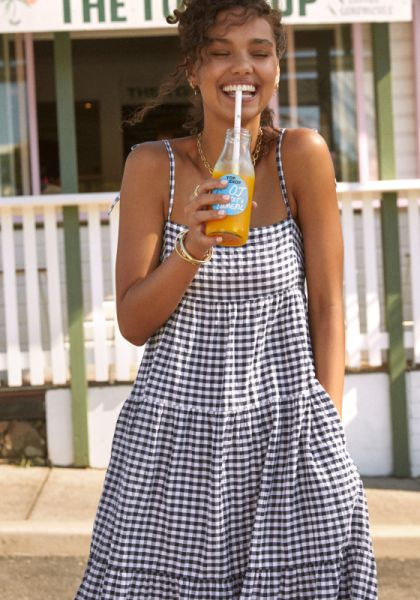 Seafolly Ally Gingham Tiered Dress