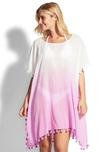 Seafolly Dip Dye Kaftan Pink/White