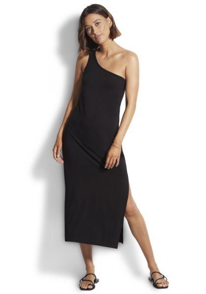 One Shoulder Jersey Midi Dress
