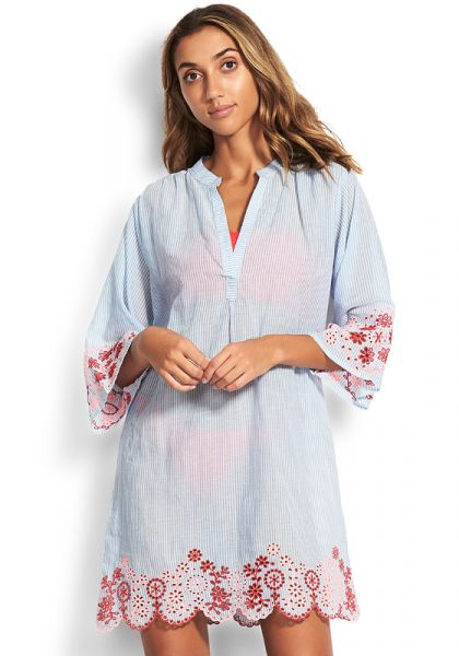 Seafolly Stripe Broderie Coverup