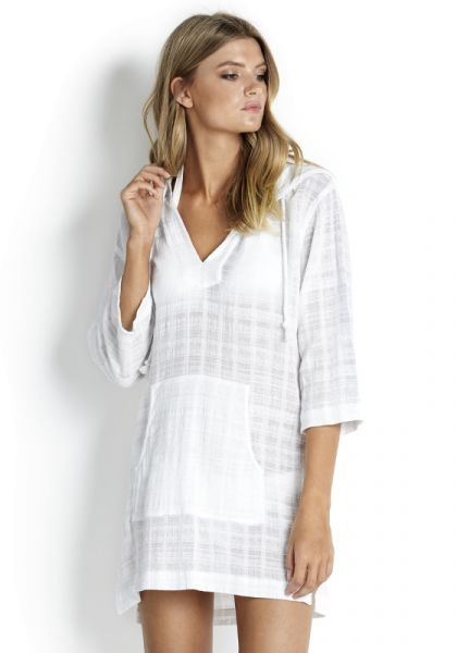 Seafolly White Hooded Coverup