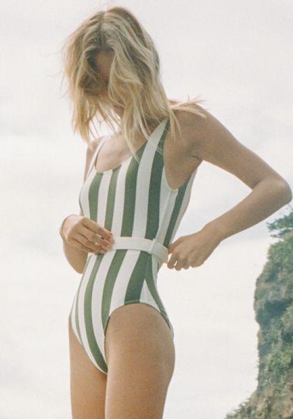 Anne-Marie Belt Safari Stripe Swimsuit