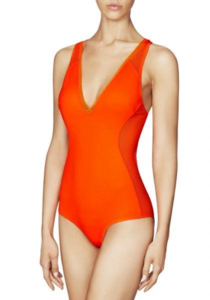 Stella McCartney Neoprene & Mesh Swimsuit in Neon Dahlia