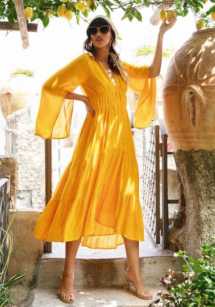 Sundress Claudia Long Dress Saint Barth Curcuma