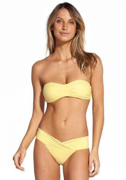 Vix Swimwear Solid Pleats Bandeau Bikini Yellow