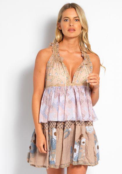 Yvonne S Double Hippy Mini Dress Viola