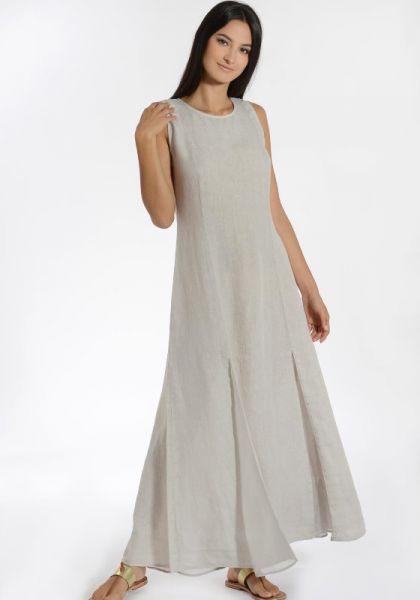 120% Linen Silk lace Up Dress