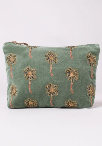 African Palmier Khaki Velvet Travel Pouch