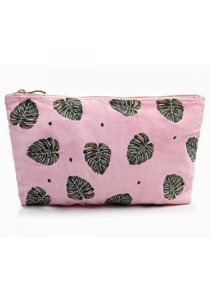 Elizabeth Scarlett Jungle Leaf Rose Shadow Velvet Travel Pouch