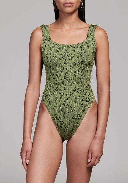 Hunza G Classic Square Neck Swimsuit Moss Leopard