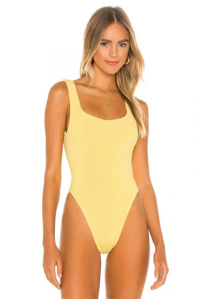 Classic Square Neck Swimsuit Lemon