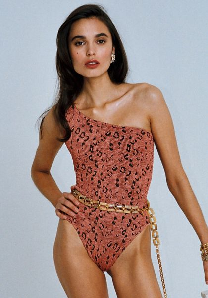 Hunza G Swimsuit Rust Leopard